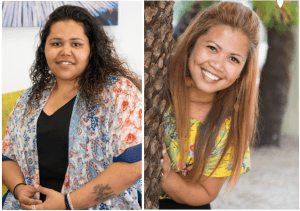Two photographs of smiling women, Justine Bamblett and Rona Lazo